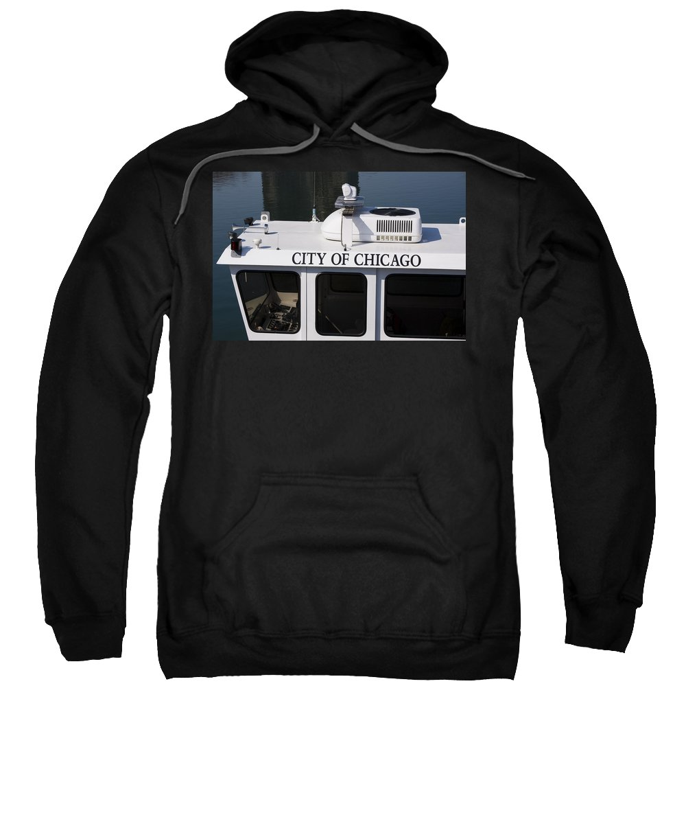 Chicago Windy City Police Boat Lake Michigan Water White Sweatshirt featuring the photograph Off Duty by Andrei Shliakhau