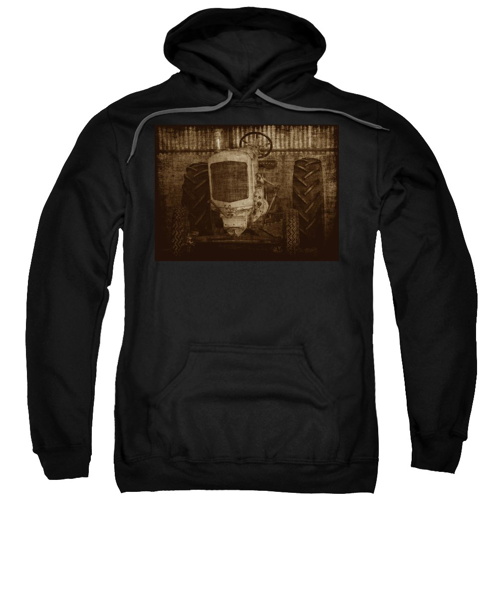 Crank Tractors Sweatshirt featuring the photograph Ol Yeller In Sepia by Ernie Echols