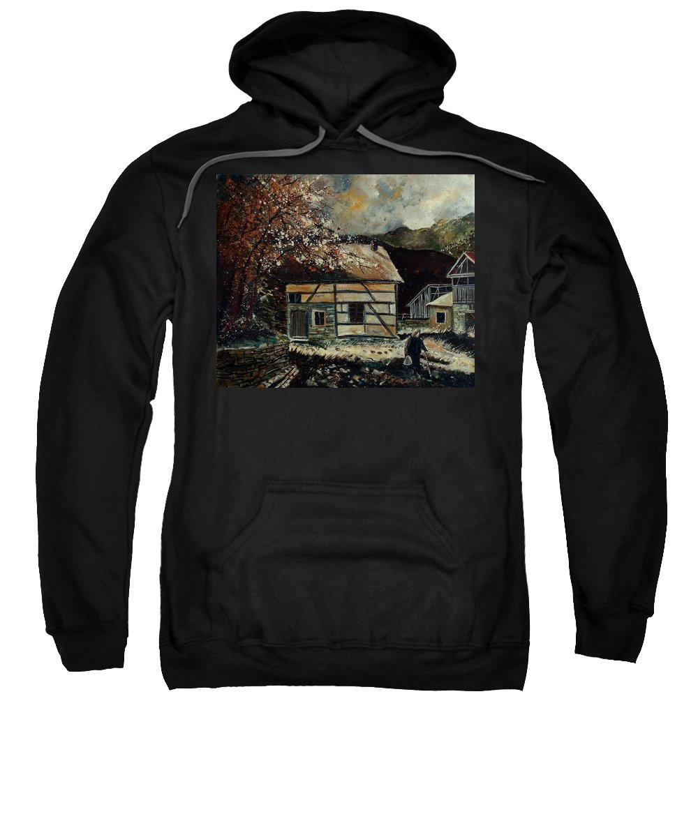 Village Sweatshirt featuring the painting Old Ardennes 56 by Pol Ledent
