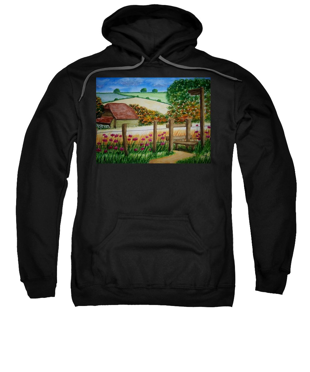 Landscape Sweatshirt featuring the painting Old Barn by B Kathleen Fannin