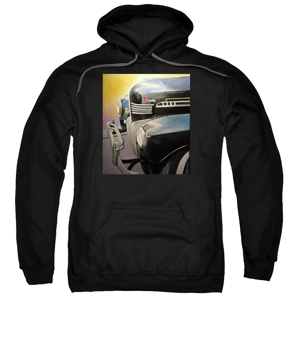 Old Sweatshirt featuring the painting Old Chrysler by Tomas Castano