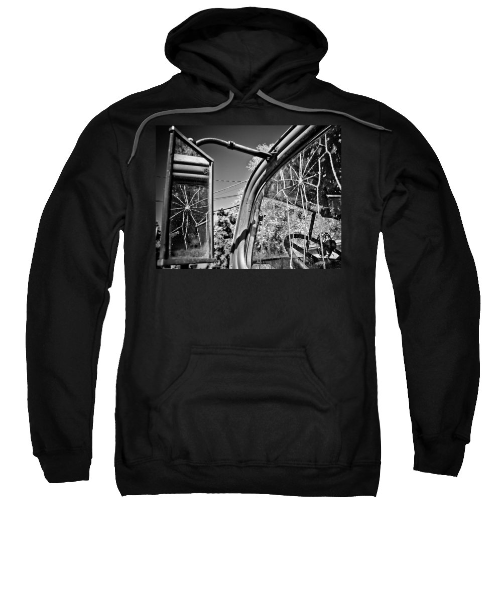 Americana Sweatshirt featuring the photograph Old Cracked Glass Spider Web by Marilyn Hunt