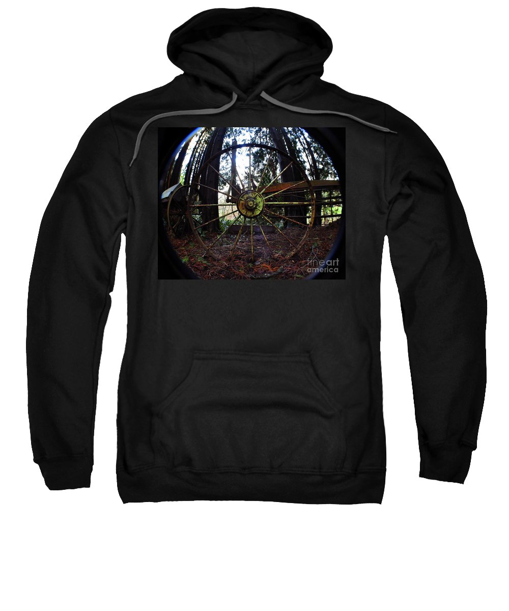 Clay Sweatshirt featuring the photograph Old Farm Wagon Wheel by Clayton Bruster
