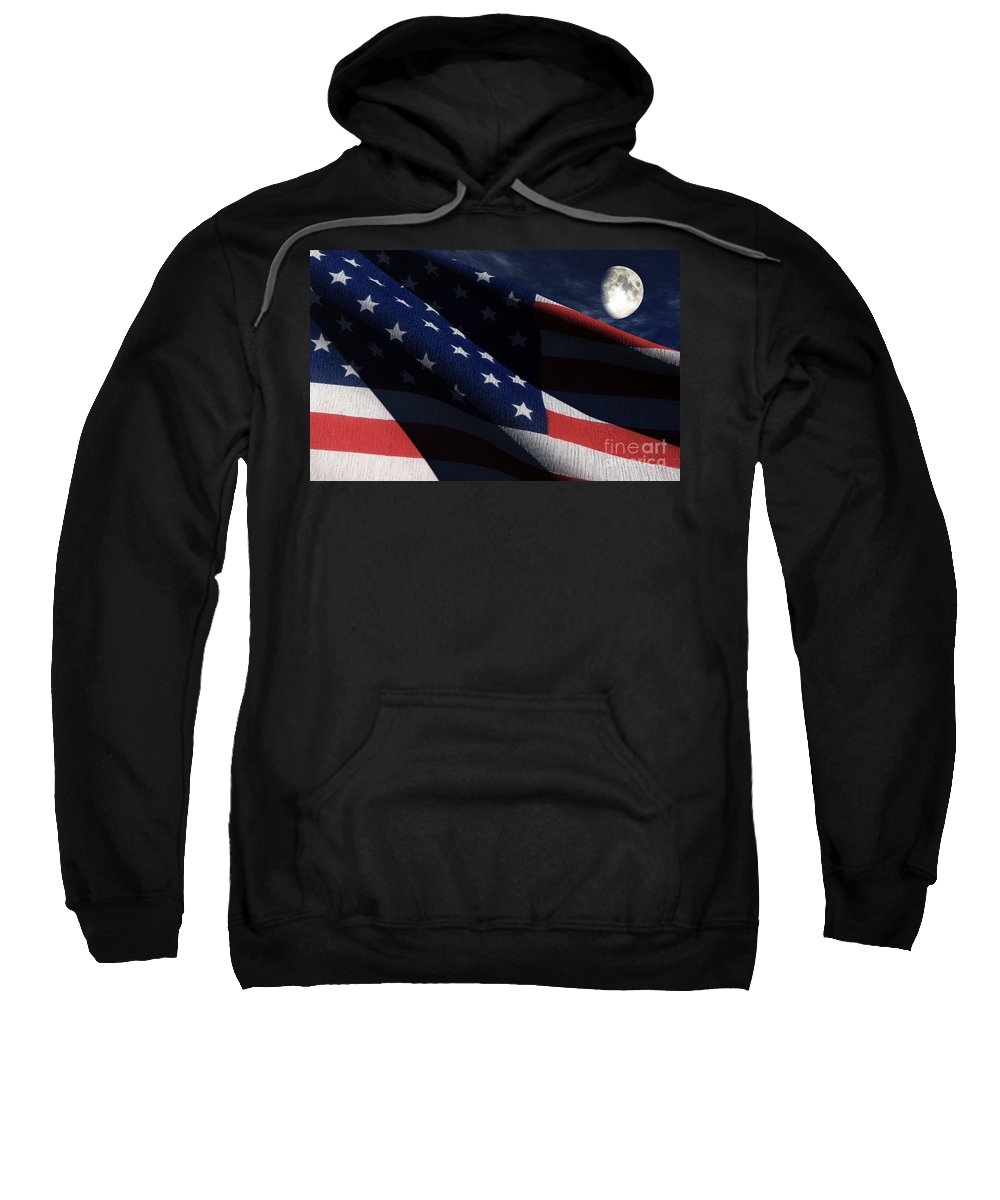 Us Flags Sweatshirt featuring the digital art Old Glory 2 by Richard Rizzo