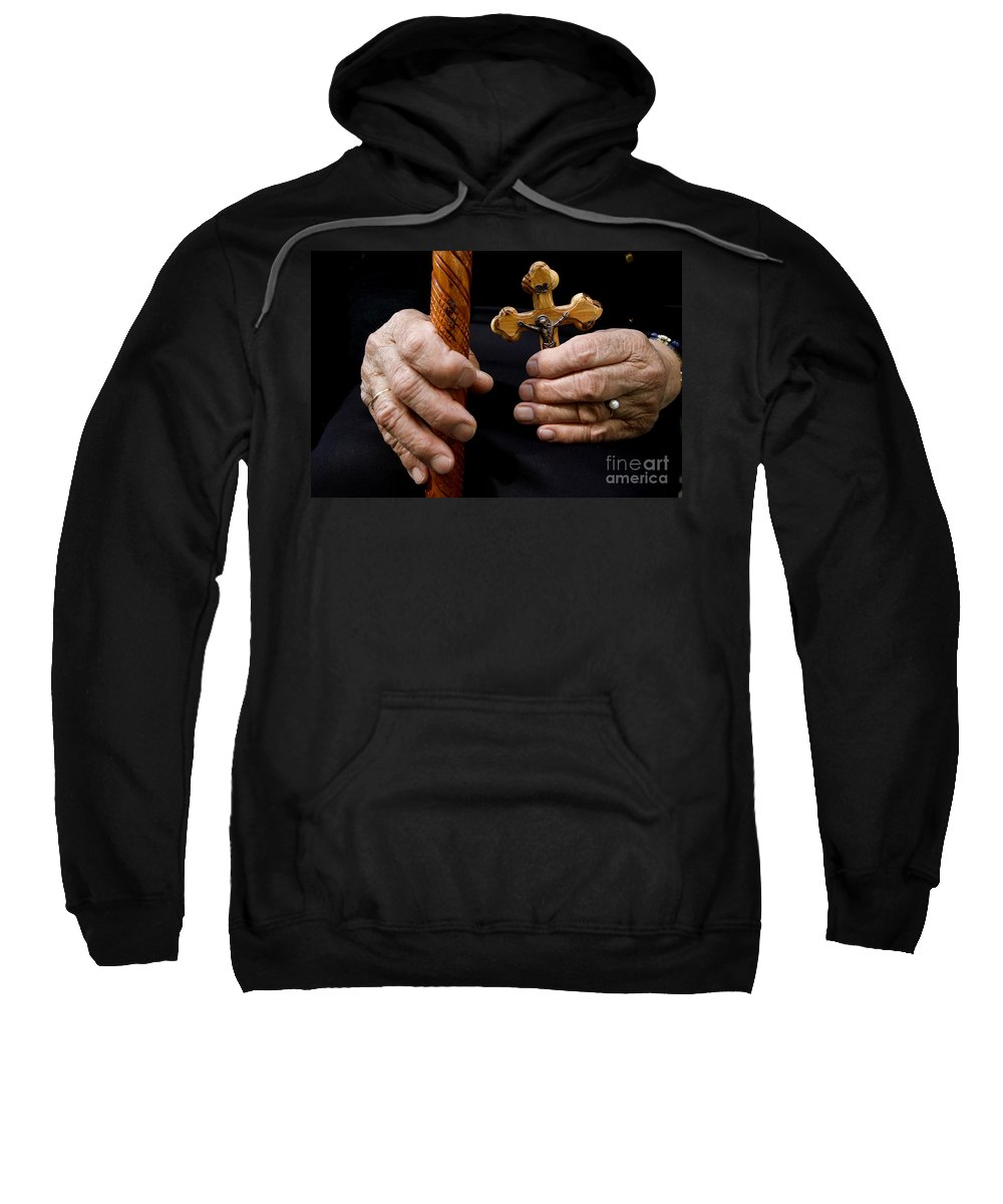Old Sweatshirt featuring the photograph Old Hands And Crucifix by Danny Yanai