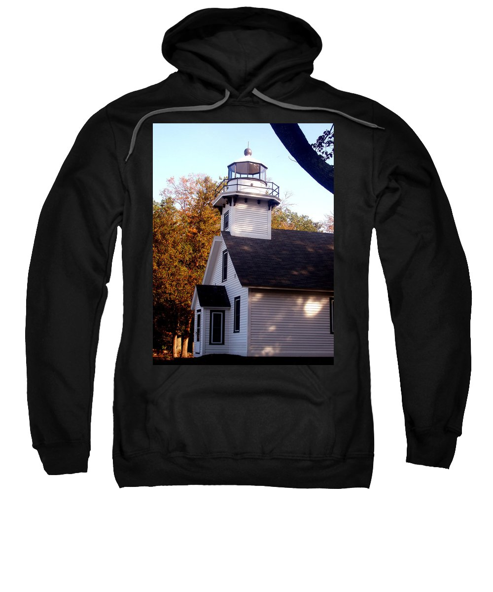 Lighthouse Sweatshirt featuring the painting Old Mission Point Light House by Wayne Potrafka