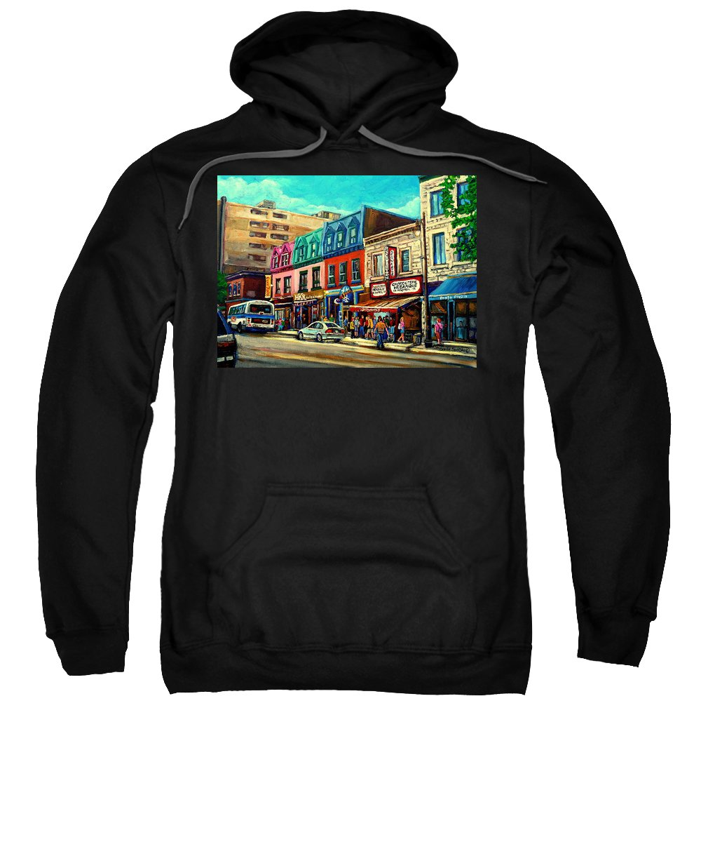 Old Montreal Schwartzs Deli Plateau Montreal City Scenes Sweatshirt featuring the painting Old Montreal Schwartzs Deli Plateau Montreal City Scenes by Carole Spandau