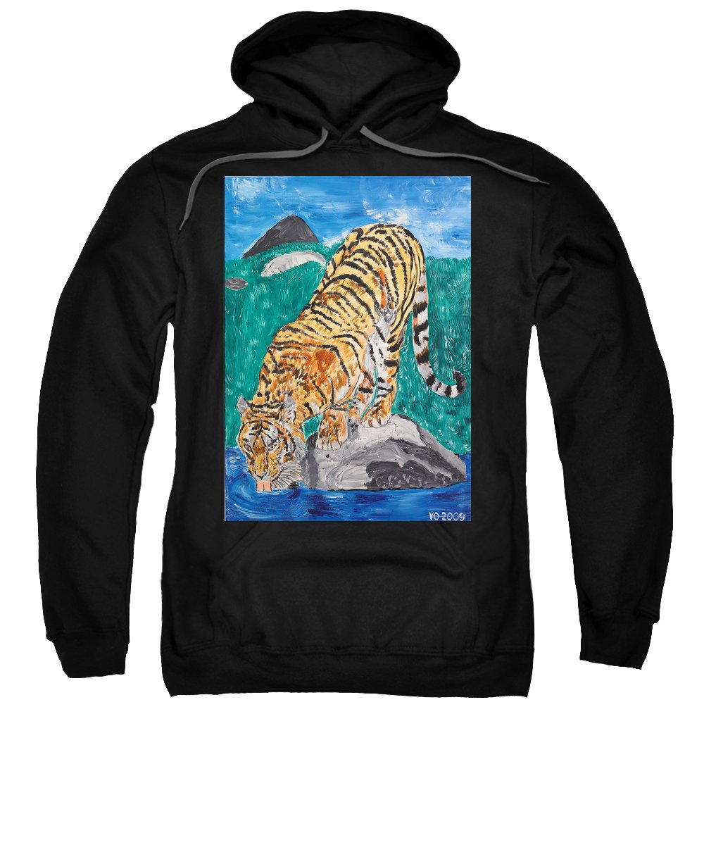 Cat Sweatshirt featuring the painting Old Tiger Drinking by Valerie Ornstein