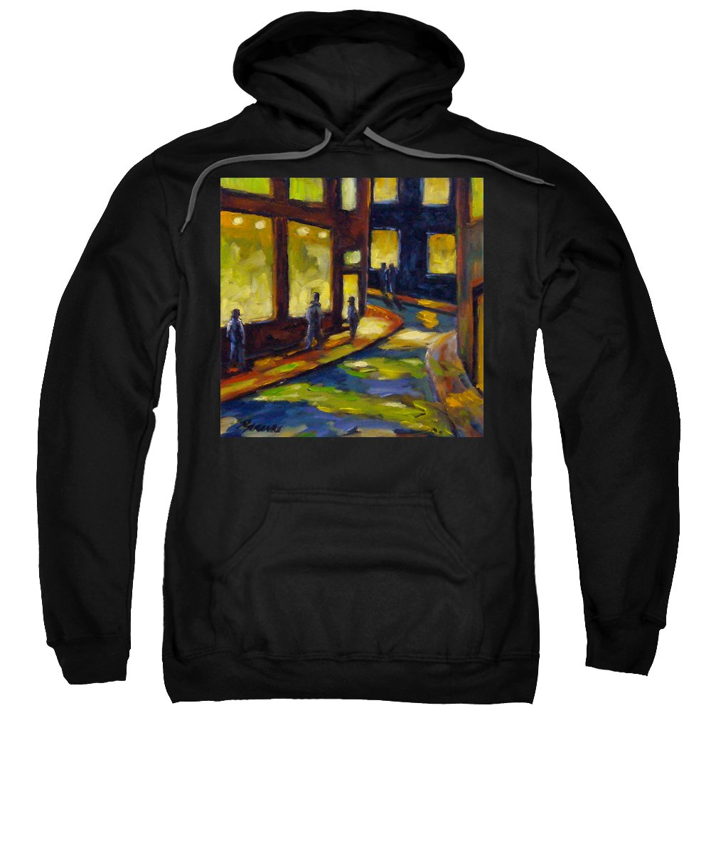Urban; Scene; People; Night; Street; City; Scape; Love; Sweatshirt featuring the painting Old Town At Night by Richard T Pranke