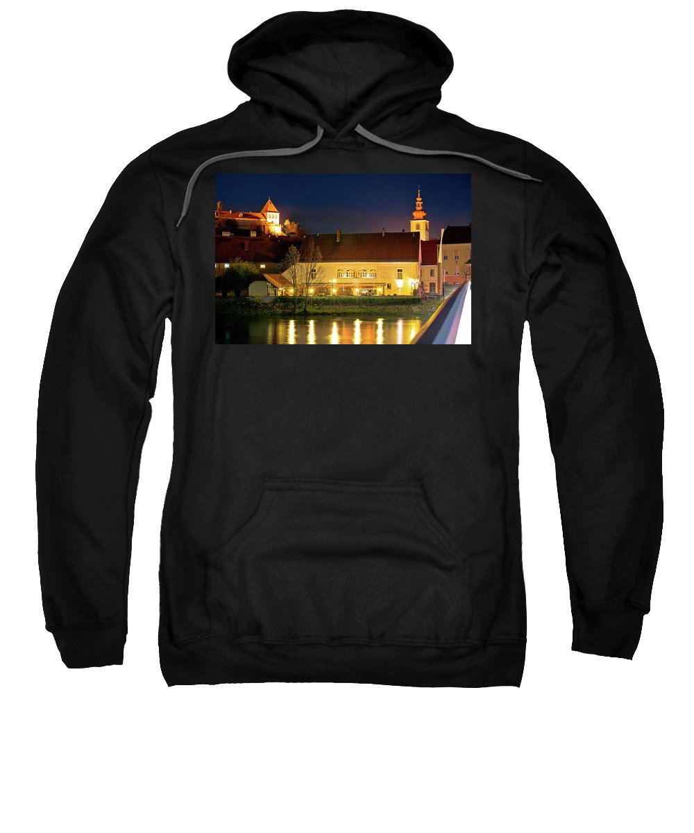 Slovenia Sweatshirt featuring the photograph Old Town Of Ptuj Evening Riverfront View by Brch Photography
