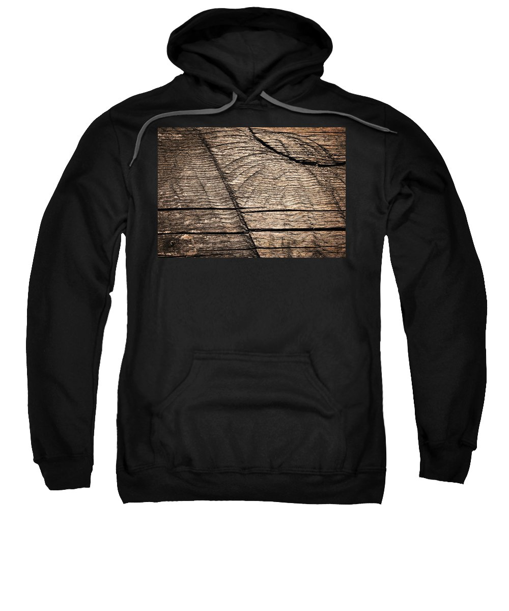 Wood Sweatshirt featuring the photograph Old Wooden Board With Notches By Sawing by Jozef Jankola