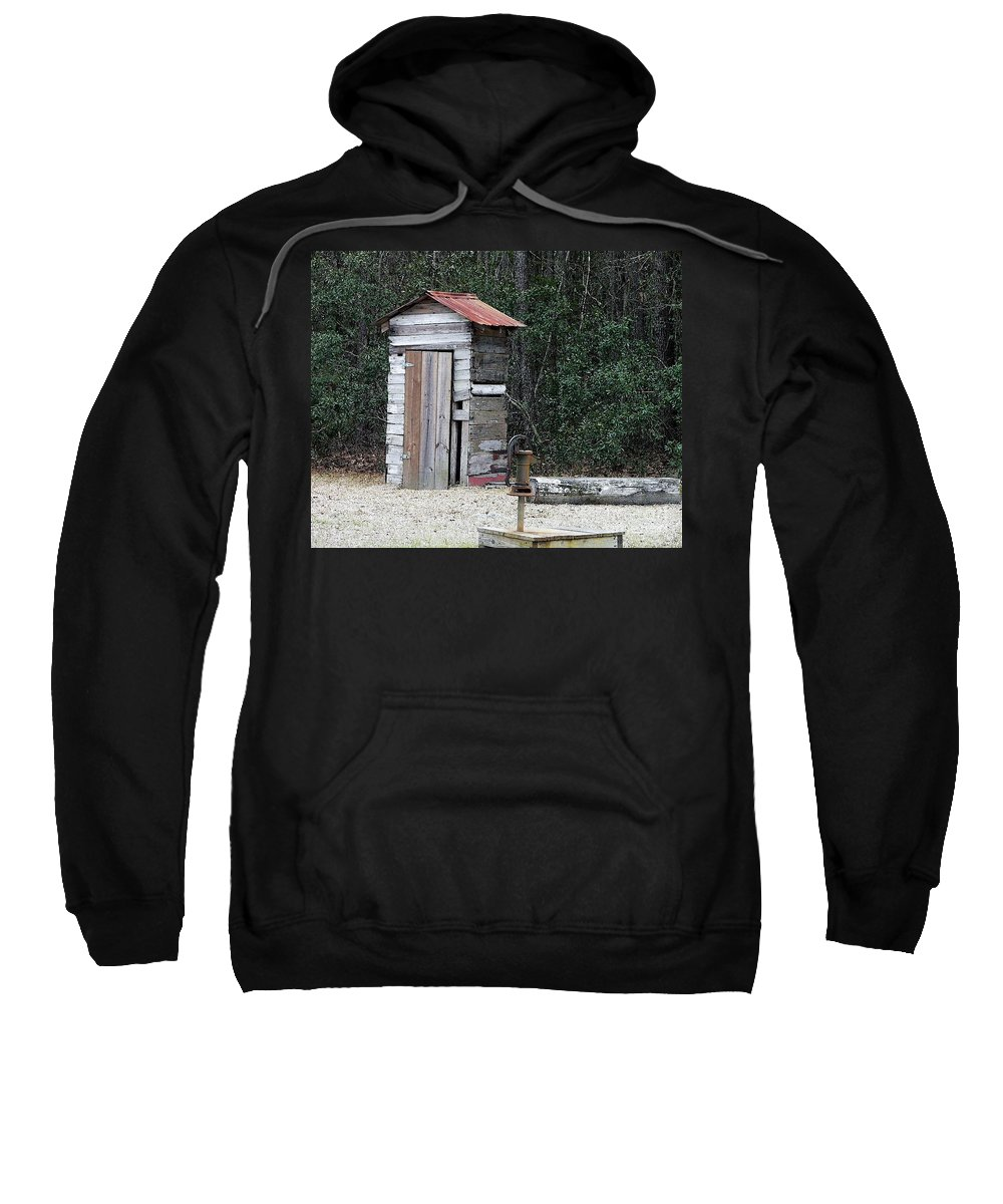 Outhouse Sweatshirt featuring the photograph Oldtime Outhouse - Digital Art by Al Powell Photography USA