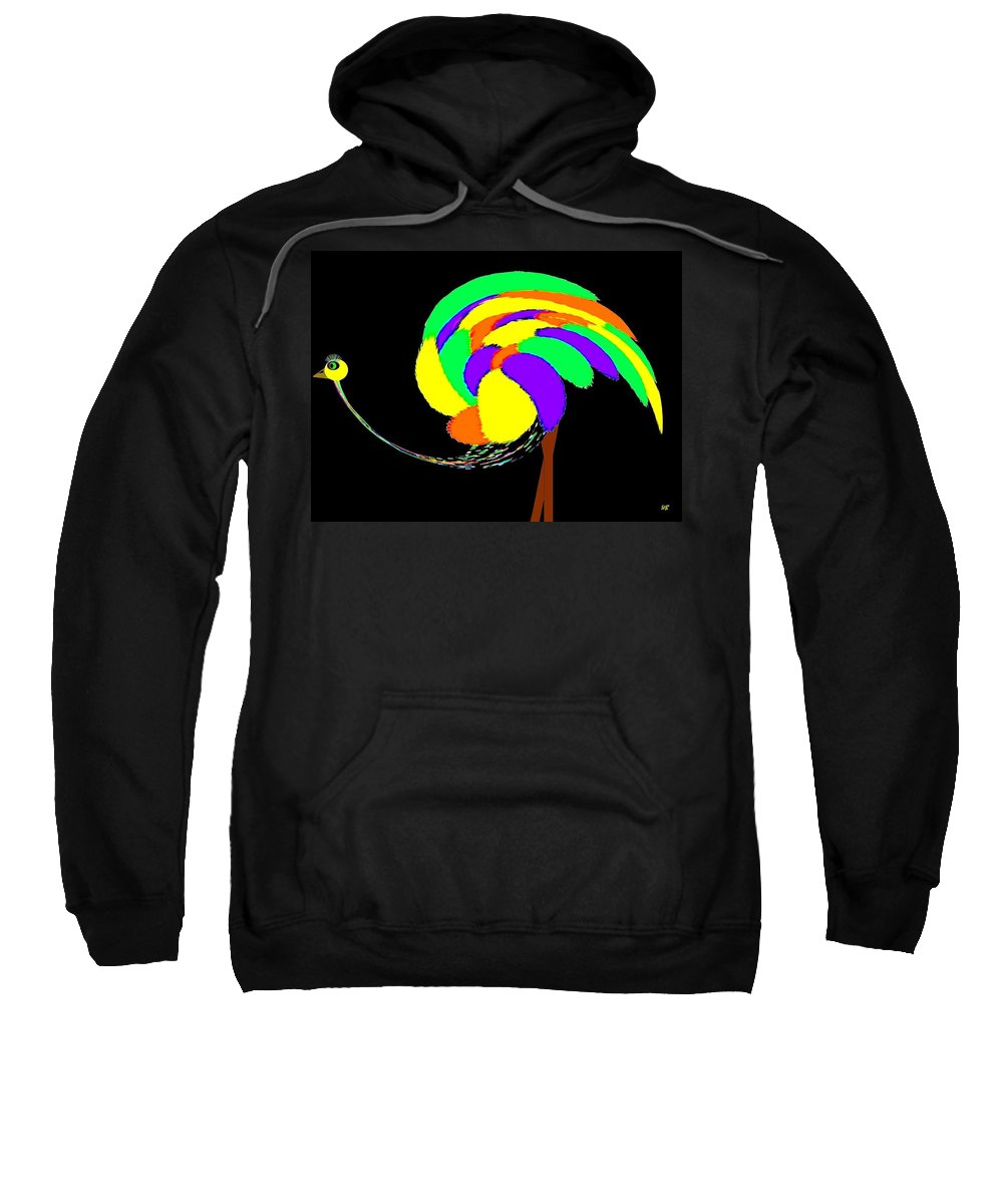 Abstract Sweatshirt featuring the digital art Olive The Ostrich by Will Borden