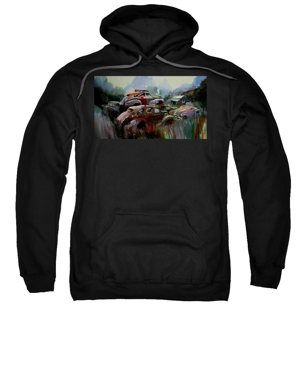 Chevies Sweatshirt featuring the painting Oliver Stacks by Ron Morrison
