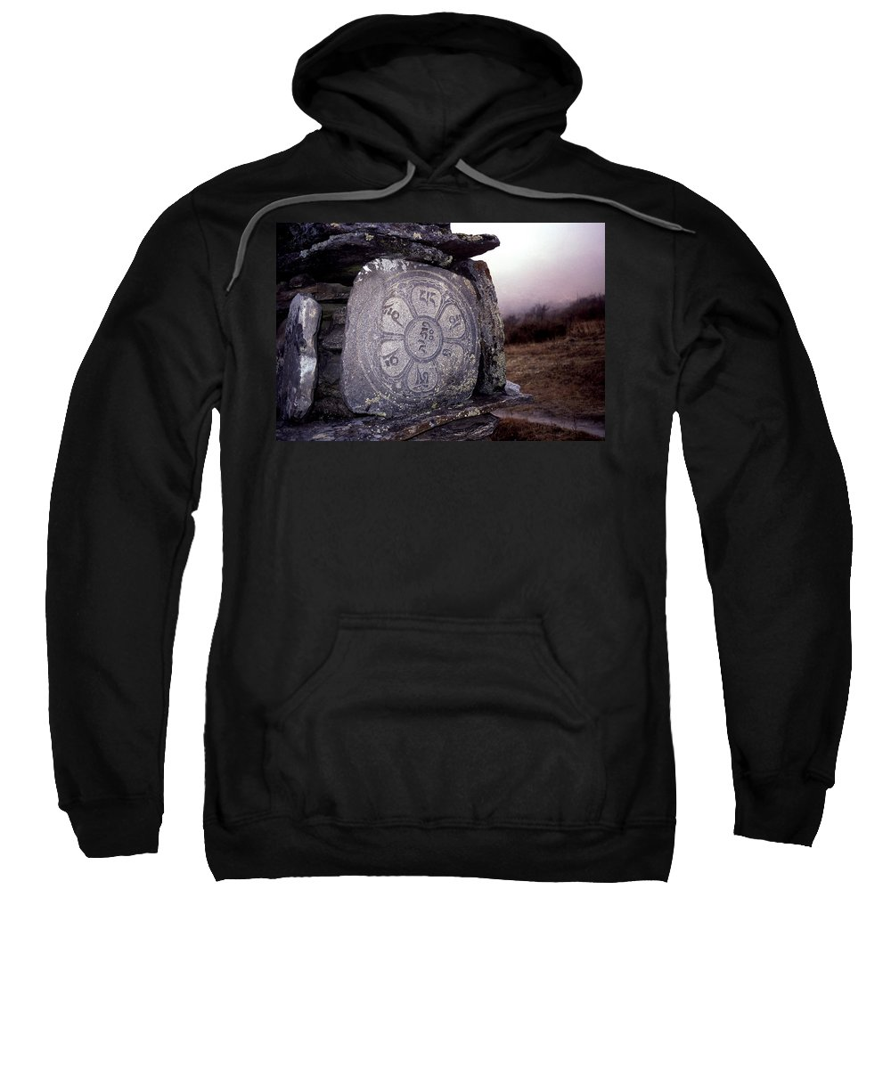 Langtang Sweatshirt featuring the photograph Om Mani Padme Hum by Patrick Klauss