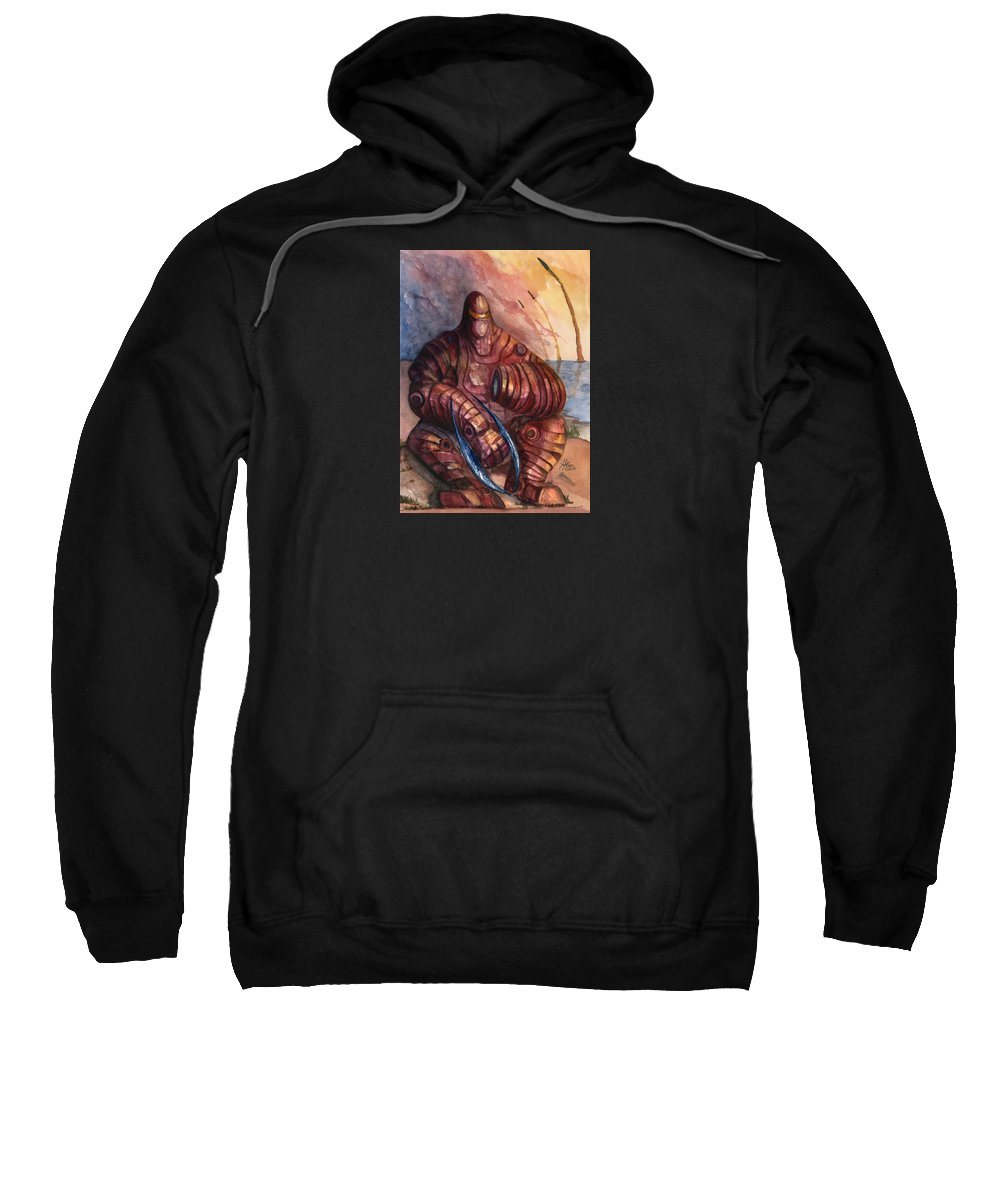 Age Of Warbotica Sweatshirt featuring the painting On The Beach by Jeff Moser
