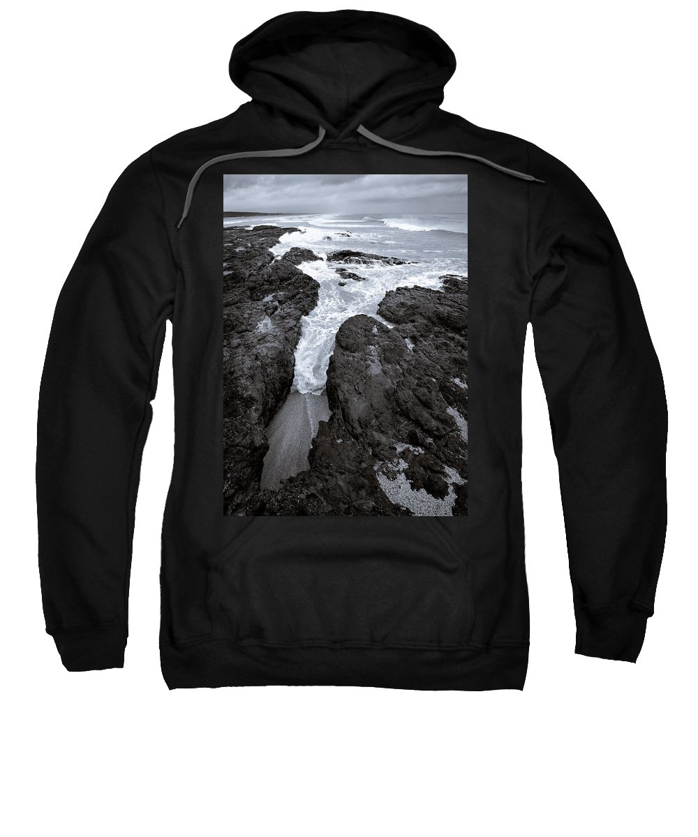 New Zealand Sweatshirt featuring the photograph On The Rocks by Dave Bowman