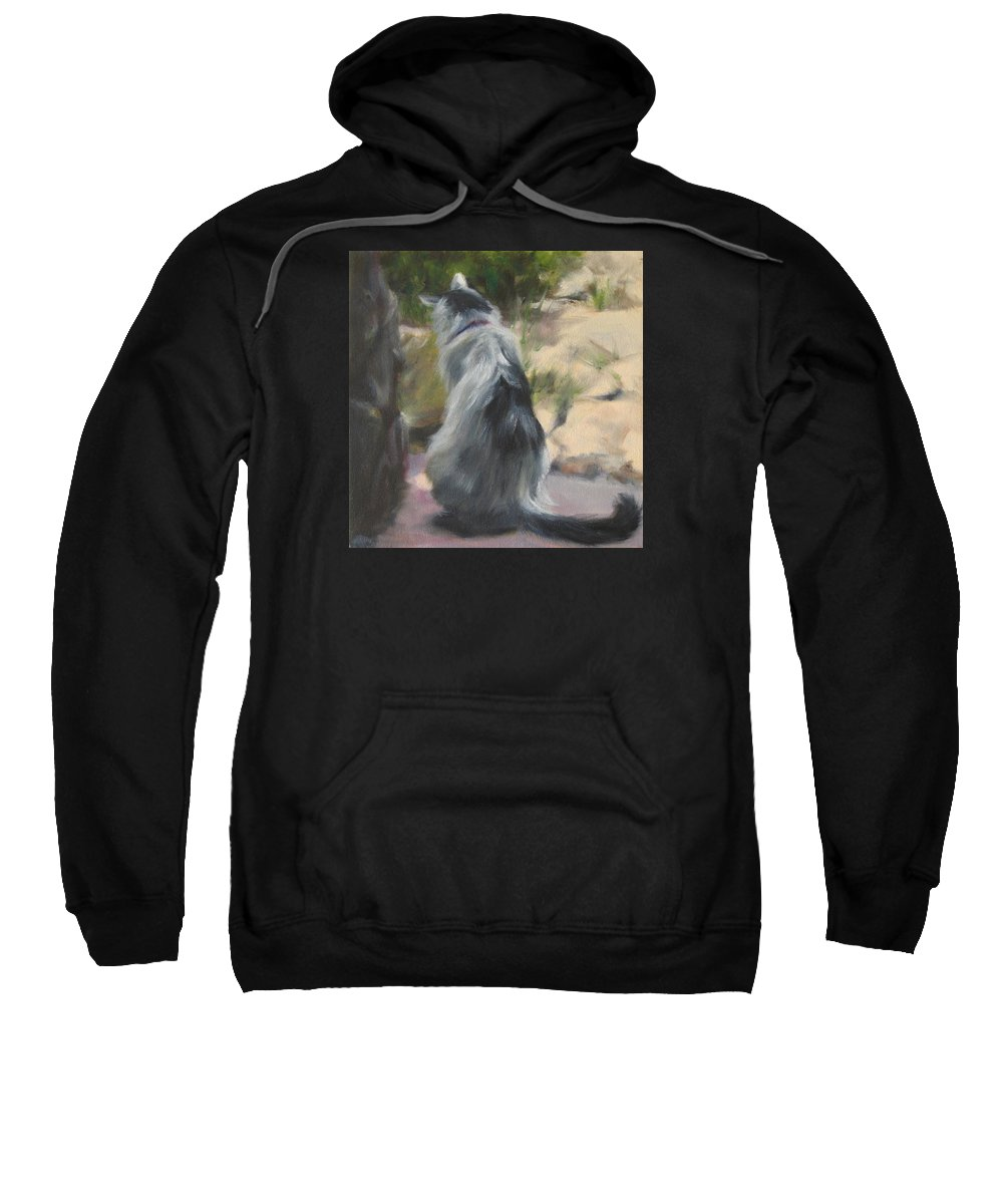 Cat Sweatshirt featuring the painting On The Threshold by Connie Schaertl