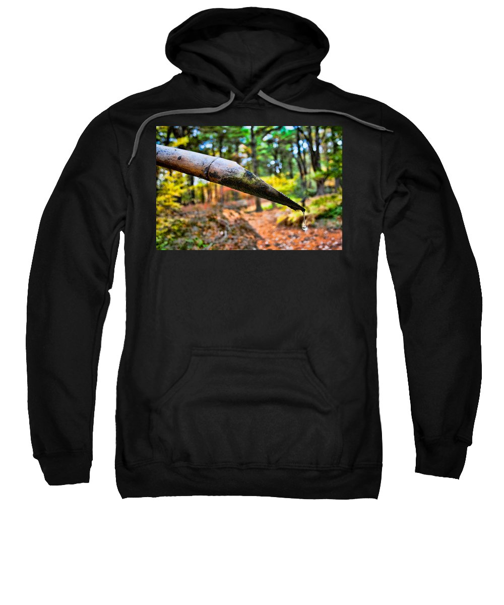 Water Drop Sweatshirt featuring the photograph One Drop Amidst The Drought by Mike Smale