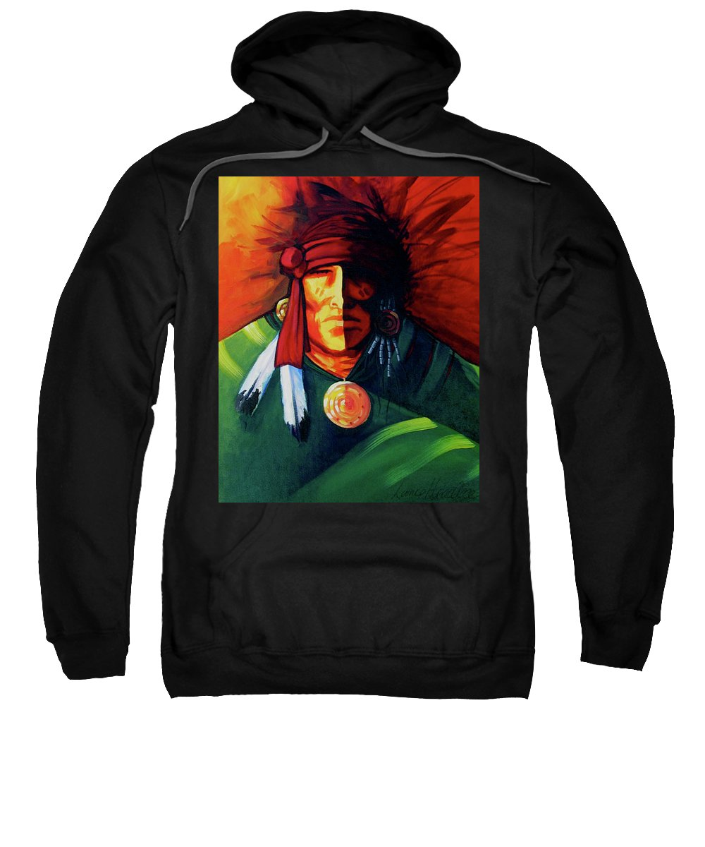 Contemporary Native American Art Sweatshirt featuring the painting One Eye by Lance Headlee