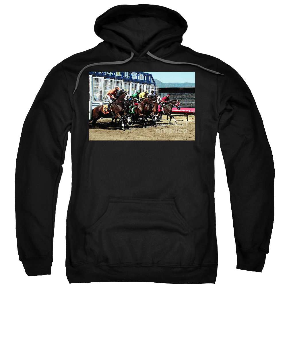 Horse Sweatshirt featuring the photograph Only a Mile To Go by Kathy McClure