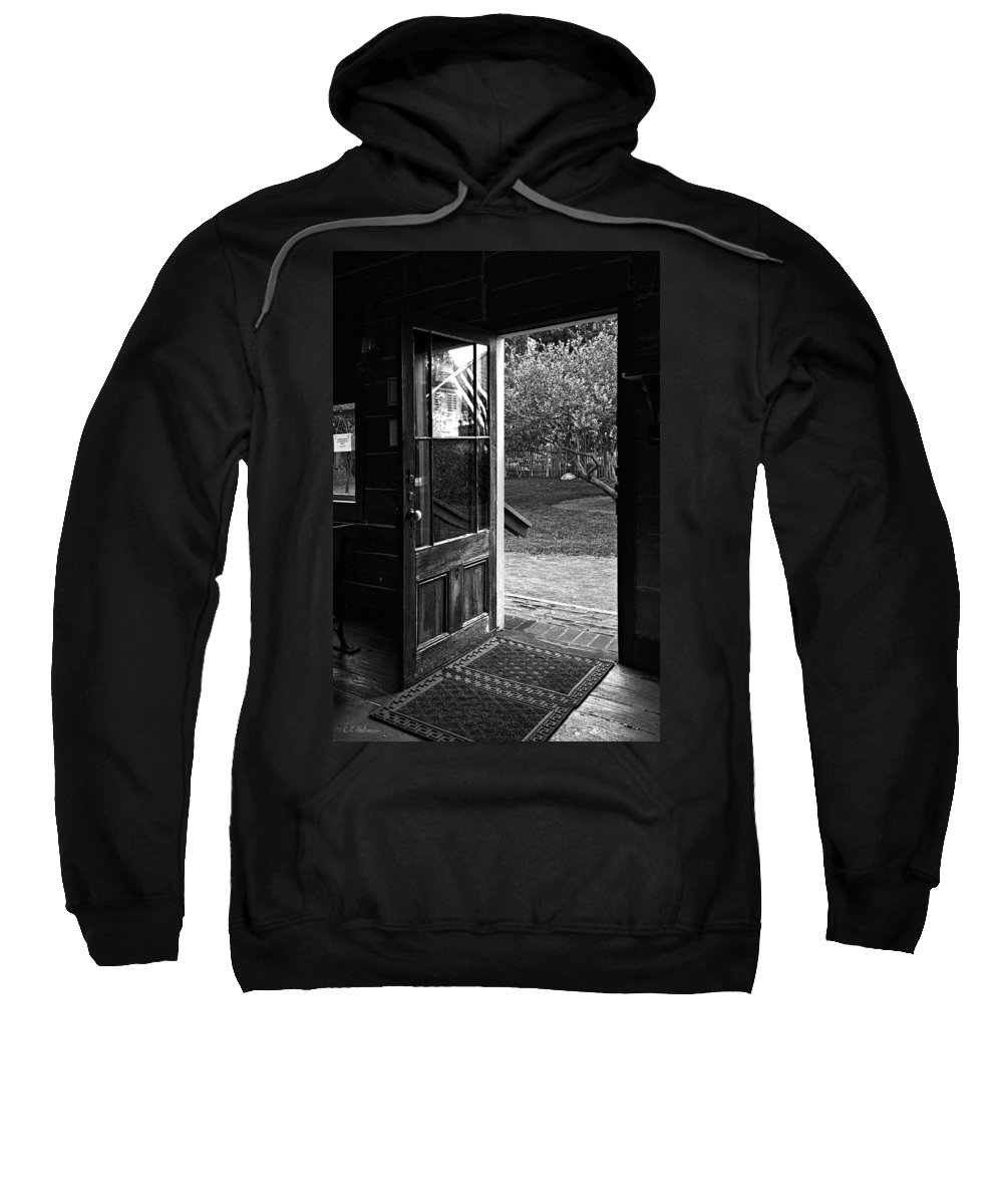 Door Sweatshirt featuring the photograph Open Door B-w by Christopher Holmes