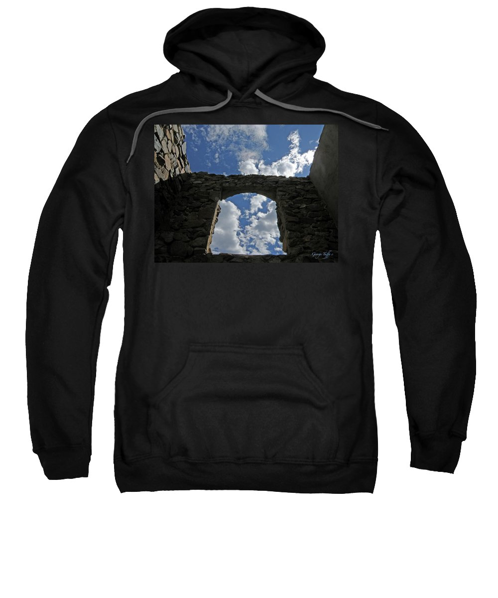Old House Mining Colorado Sky Clouds Rocky Mountains Spacious Simple Zen Sweatshirt featuring the photograph Open To The Sky by George Tuffy