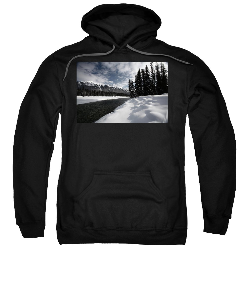 Snow Covered Sweatshirt featuring the digital art Open Water In Winter by Mark Duffy