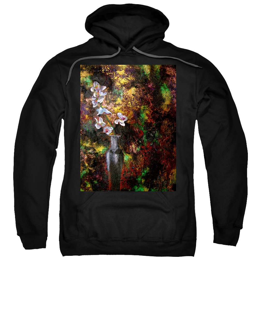 Orchid Art Beautiful Art Sweatshirt featuring the painting Orchid 1 by Laura Pierre-Louis