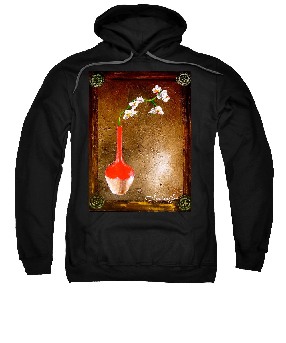 Orchid Art Beautiful Art Sweatshirt featuring the painting Orchid 3 by Laura Pierre-Louis