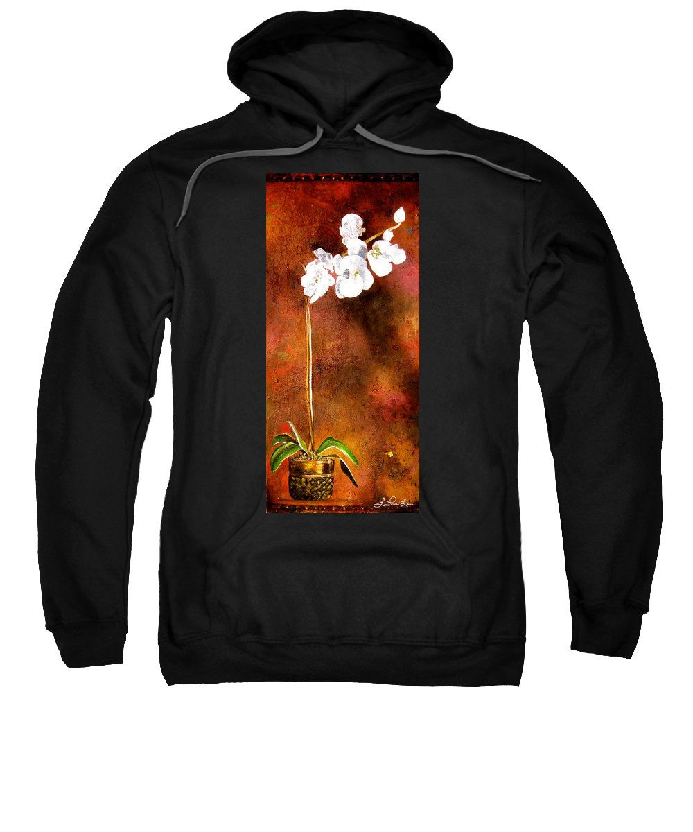 Orchid Painting Sweatshirt featuring the painting Orchid 4 by Laura Pierre-Louis