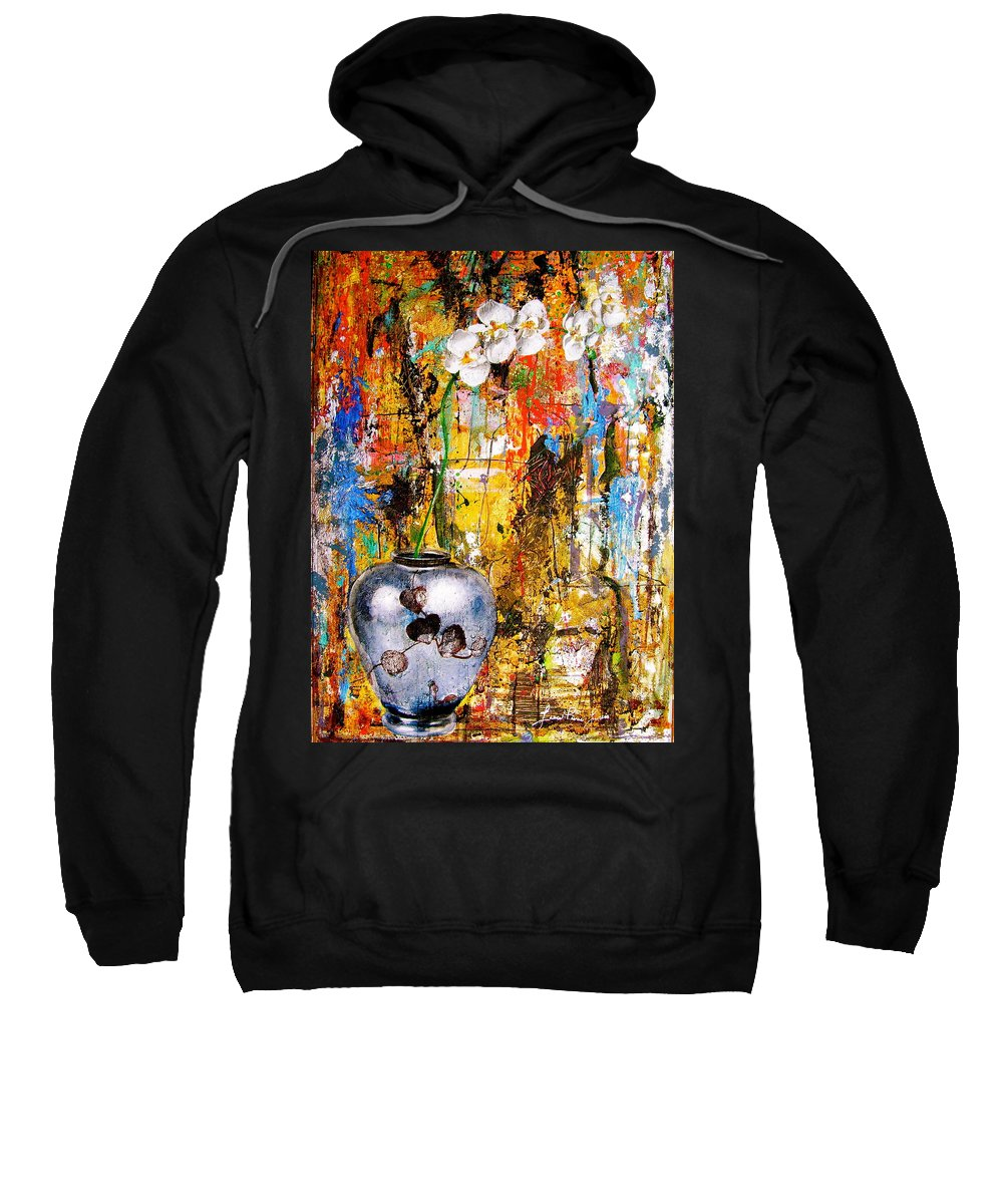 Orchid Art Beautiful Art Sweatshirt featuring the painting Orchid 5 by Laura Pierre-Louis