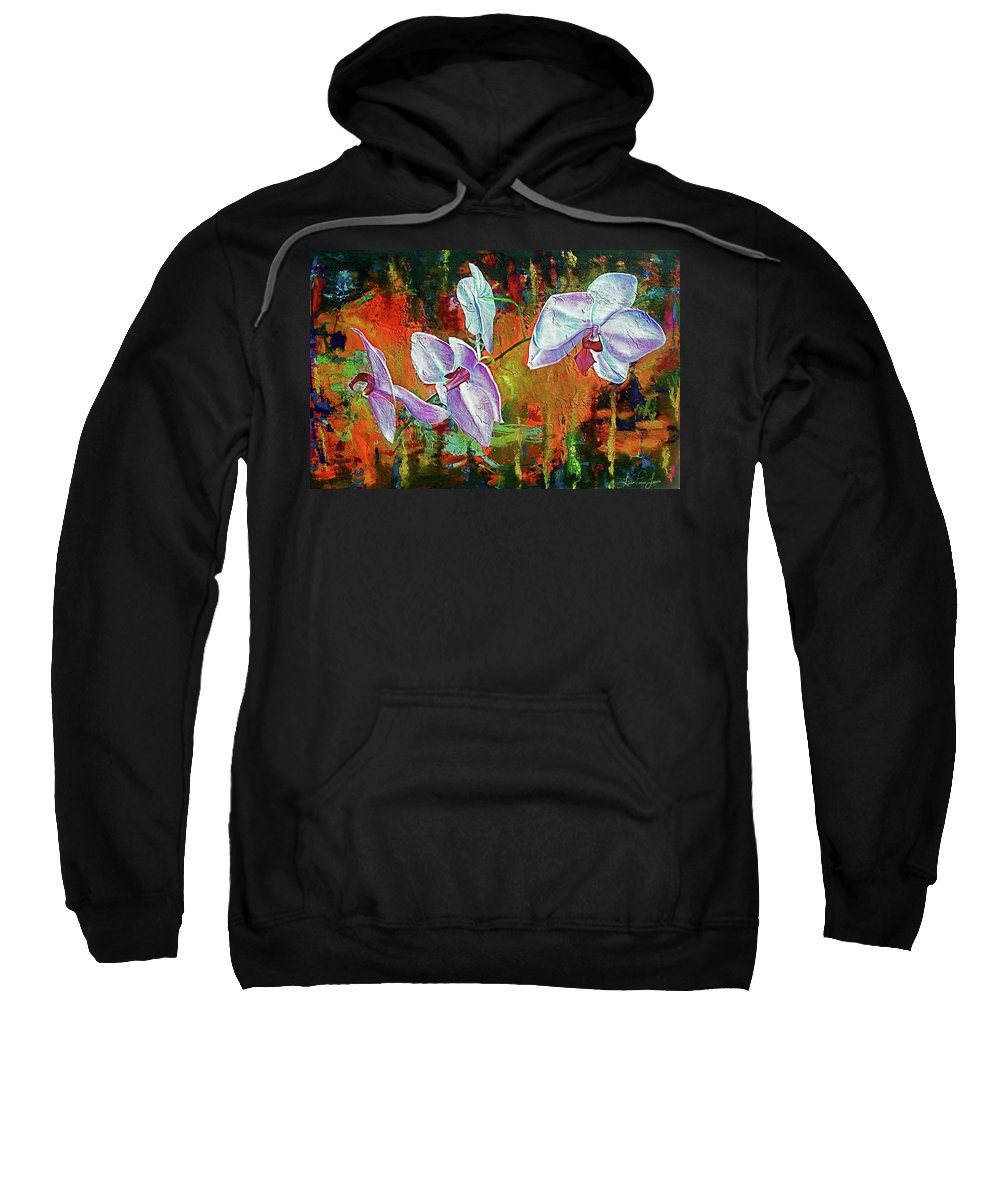 Flowers Sweatshirt featuring the painting Orchid A by Laura Pierre-Louis