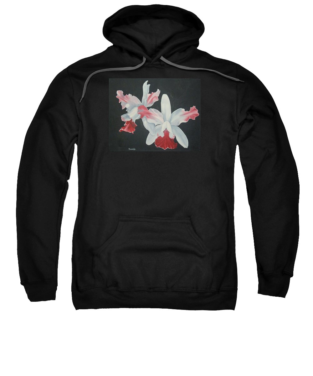 Flowers Sweatshirt featuring the painting Orchids In Flight by Brandy House
