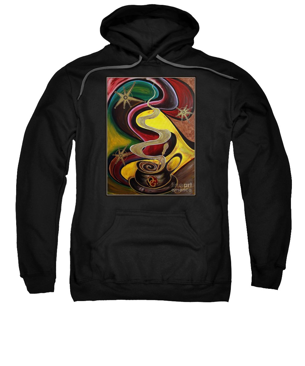 Coffee Sweatshirt featuring the painting Organo Gold by Jolanta Anna Karolska