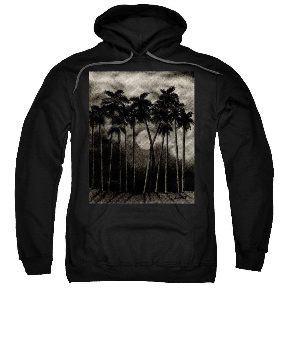 Original Moonlit Palm Trees Sweatshirt featuring the drawing Original Moonlit Palm Trees by Larry Lehman