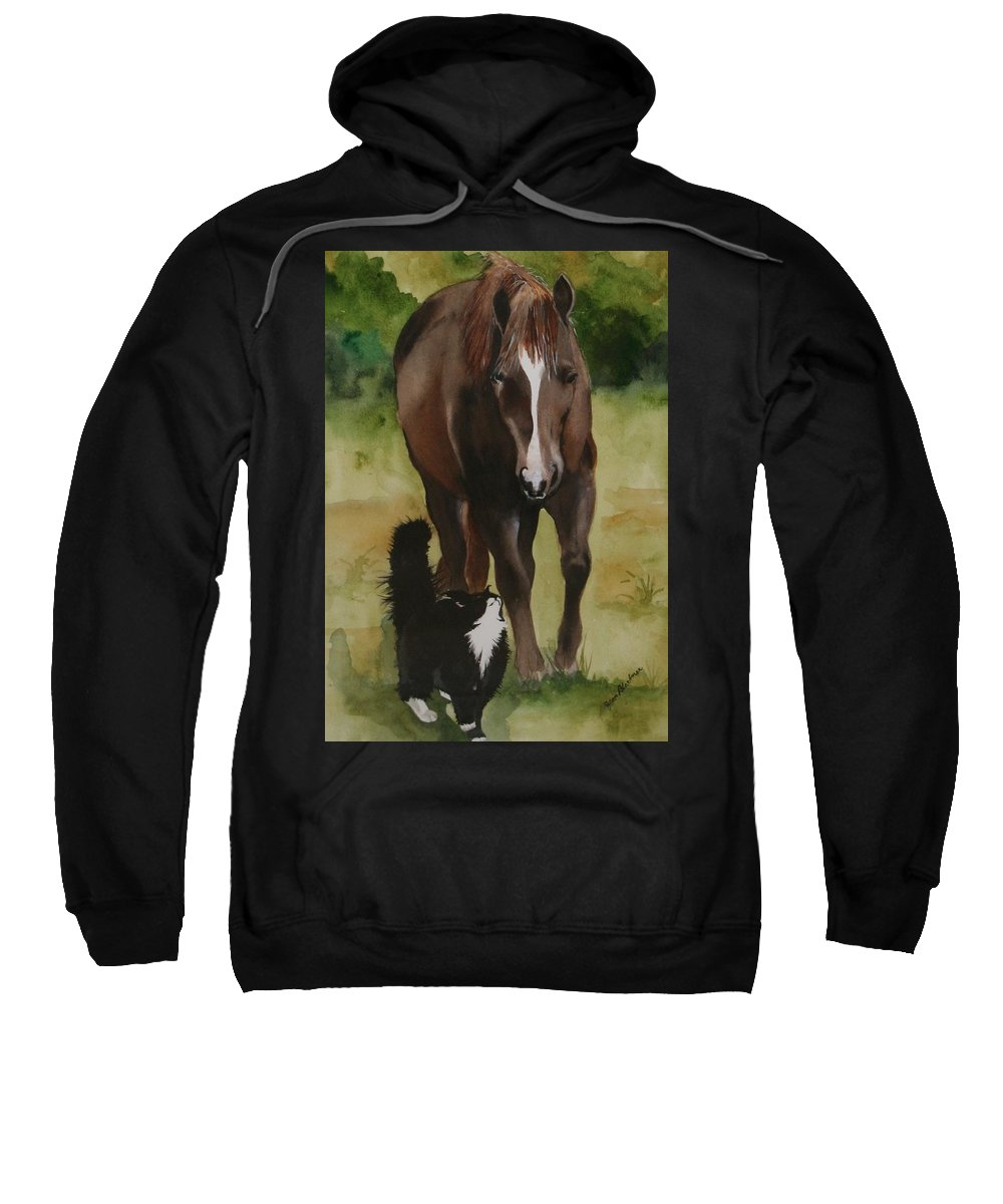Horse Sweatshirt featuring the painting Oscar And Friend by Jean Blackmer