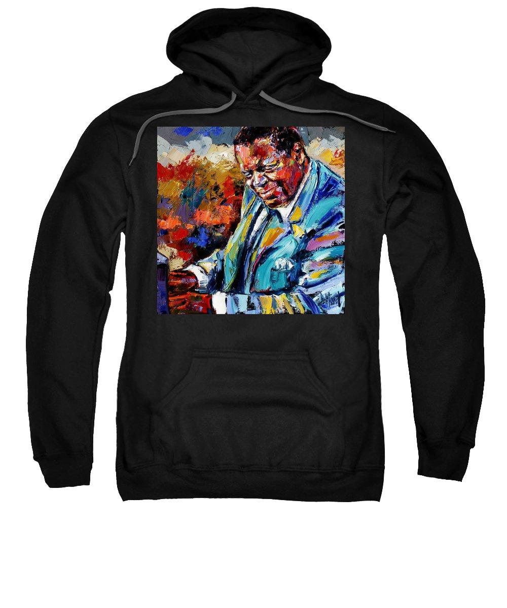 Oscar Peterson Sweatshirt featuring the painting Oscar by Debra Hurd
