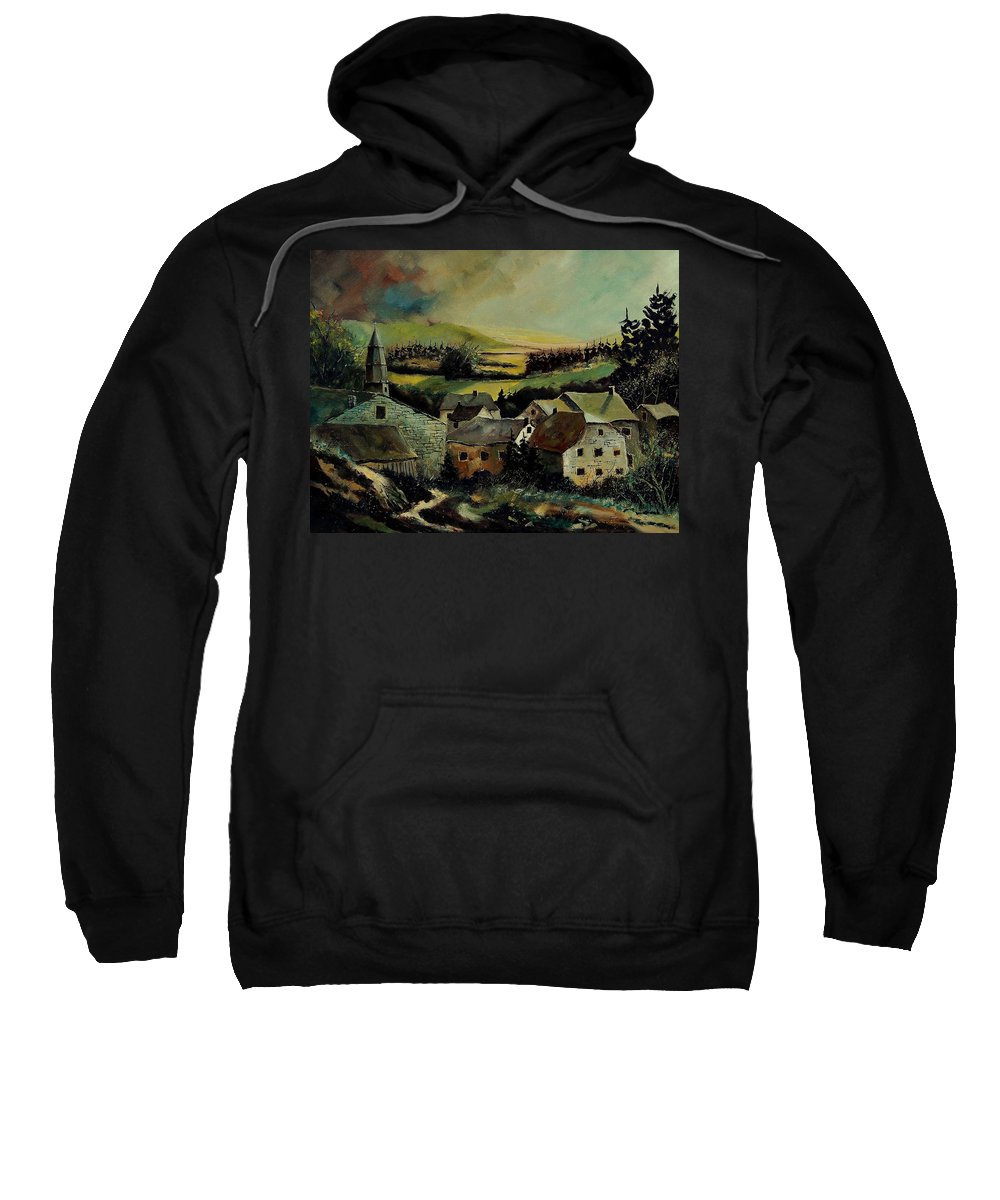 Village Sweatshirt featuring the painting Our Opont Belgium by Pol Ledent