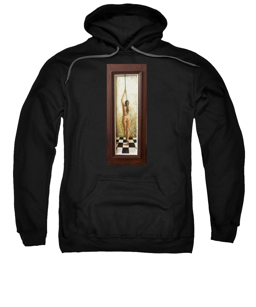 Figurative Sweatshirt featuring the painting Out Of Chess by Natalia Tejera