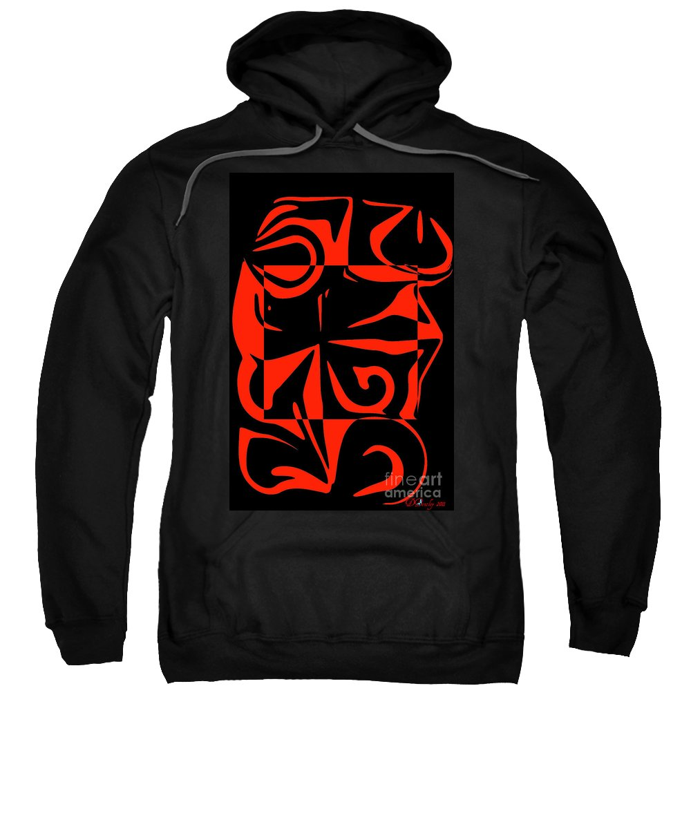 Red Sweatshirt featuring the digital art Out Of The Box by Donna Bentley