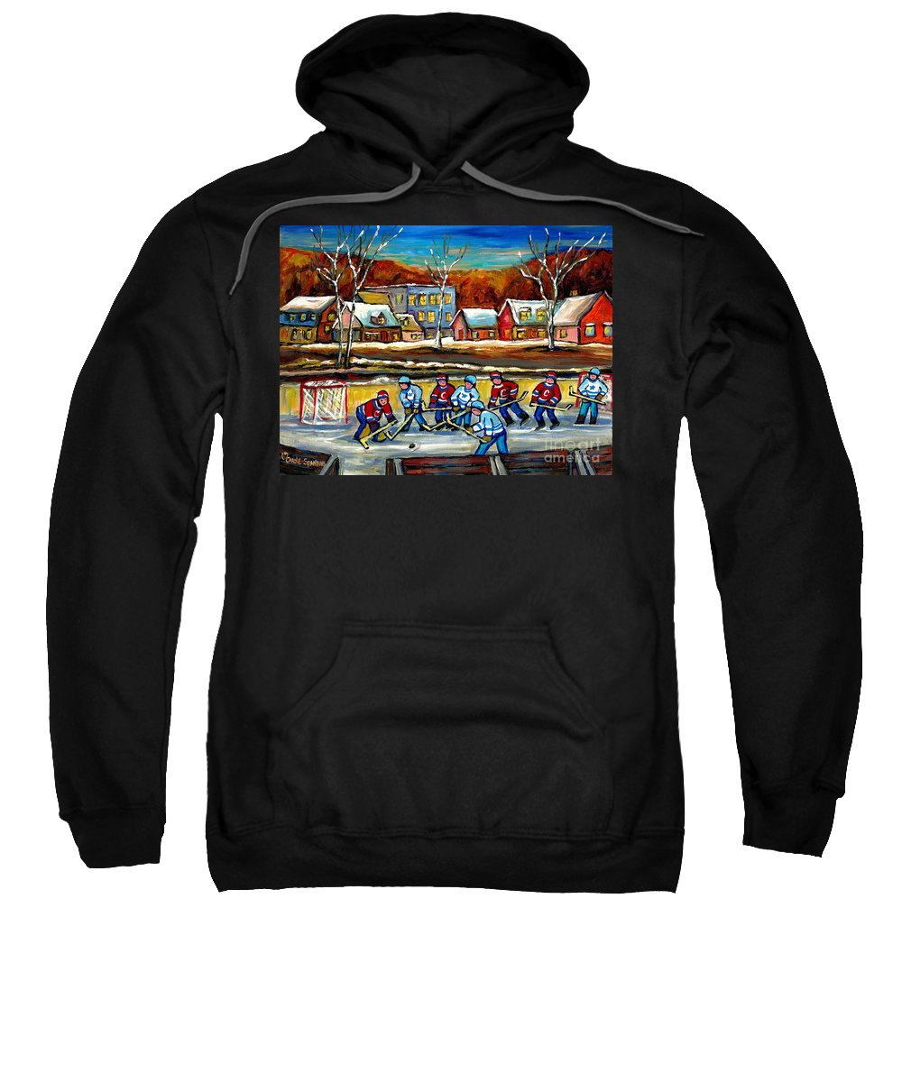 Country Hockey Rink Sweatshirt featuring the painting Outdoor Hockey Rink by Carole Spandau
