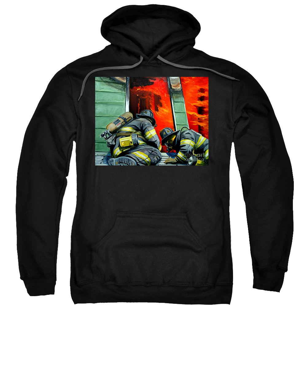 Firefighting Sweatshirt featuring the painting Outside Roof by Paul Walsh