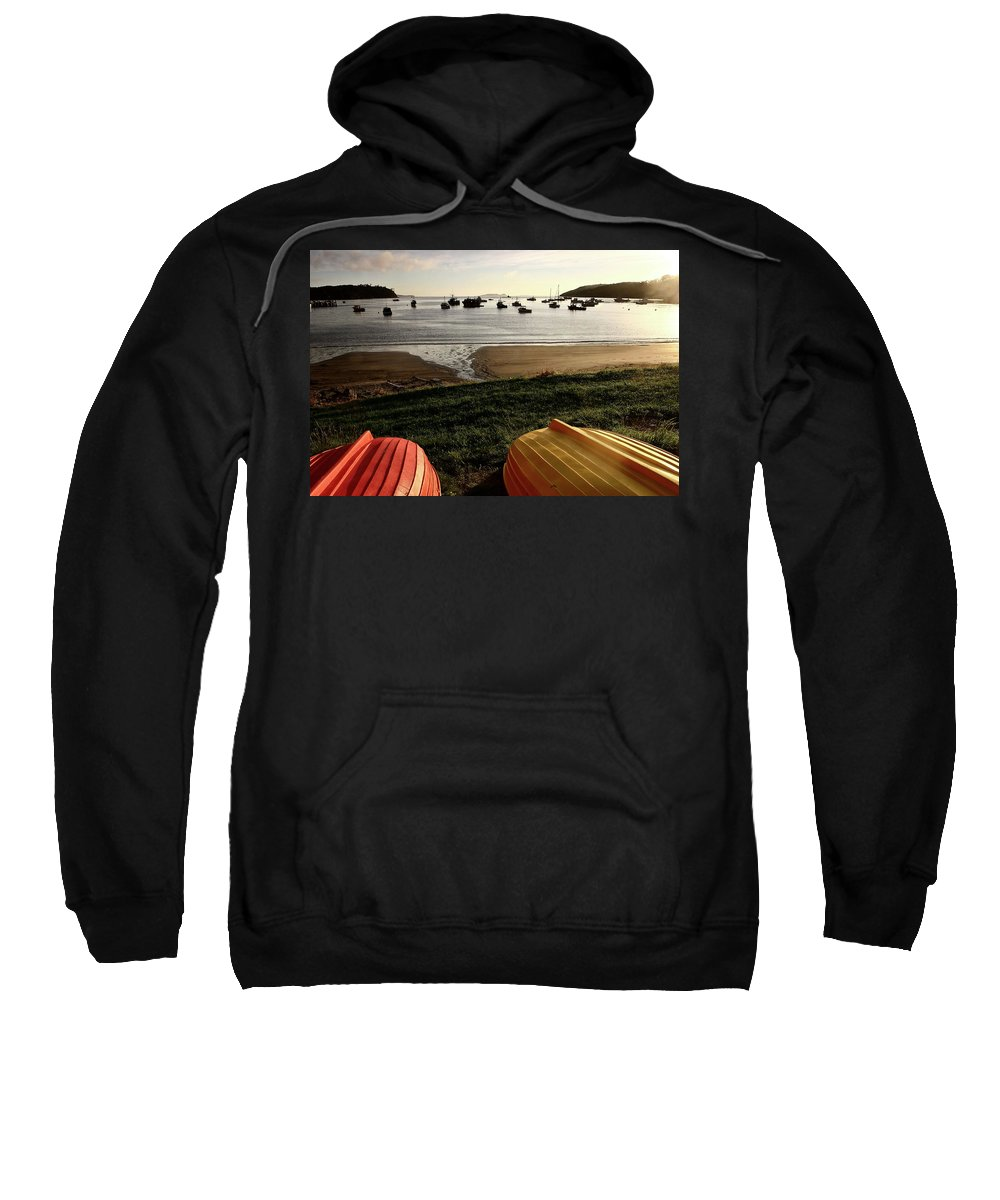Overturned Sweatshirt featuring the digital art Overturned Boats On Shore Of Harbor by Mark Duffy