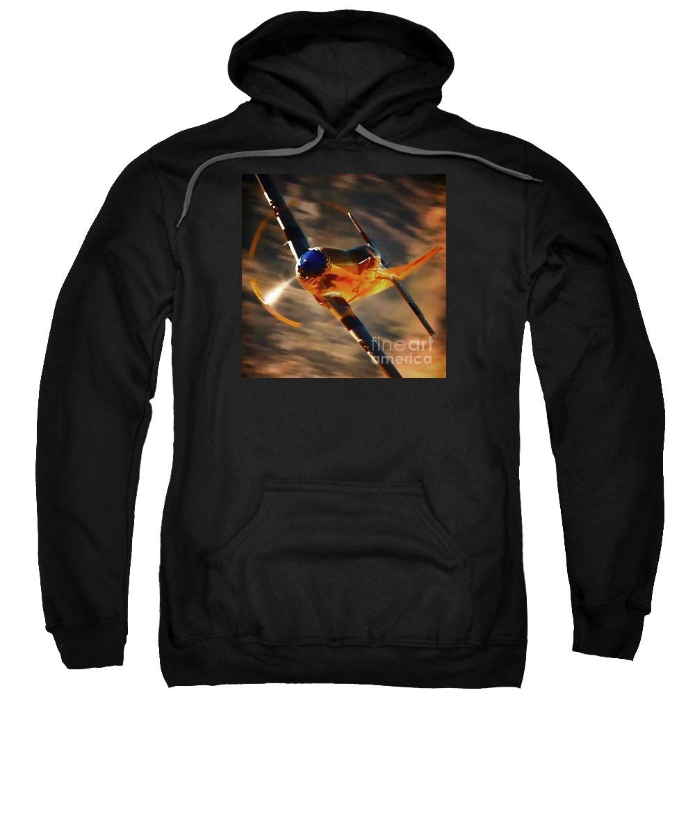Transportation Sweatshirt featuring the photograph P-51 Mustang 'grim Reaper' And Dan Martin For Clothing by Gus McCrea