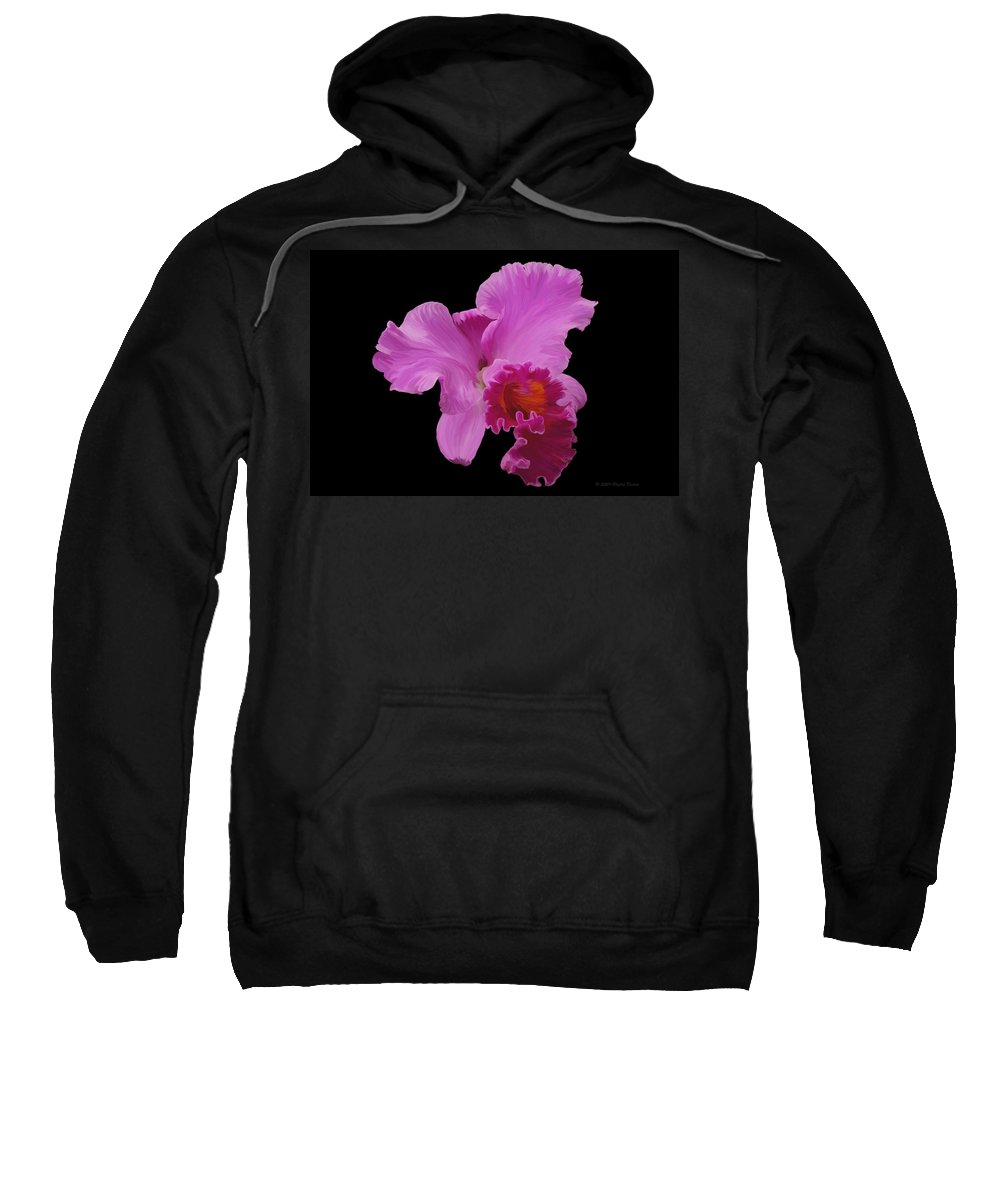 Orchid Sweatshirt featuring the photograph Painted Orchid by Phyllis Denton