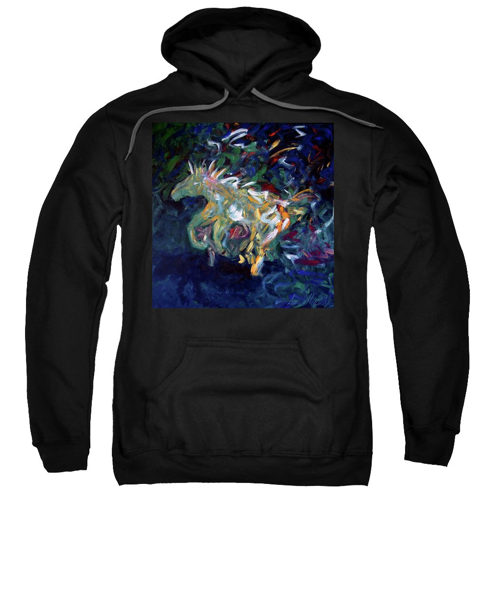 Abstract Horse Sweatshirt featuring the painting Painted Pony by Lance Headlee