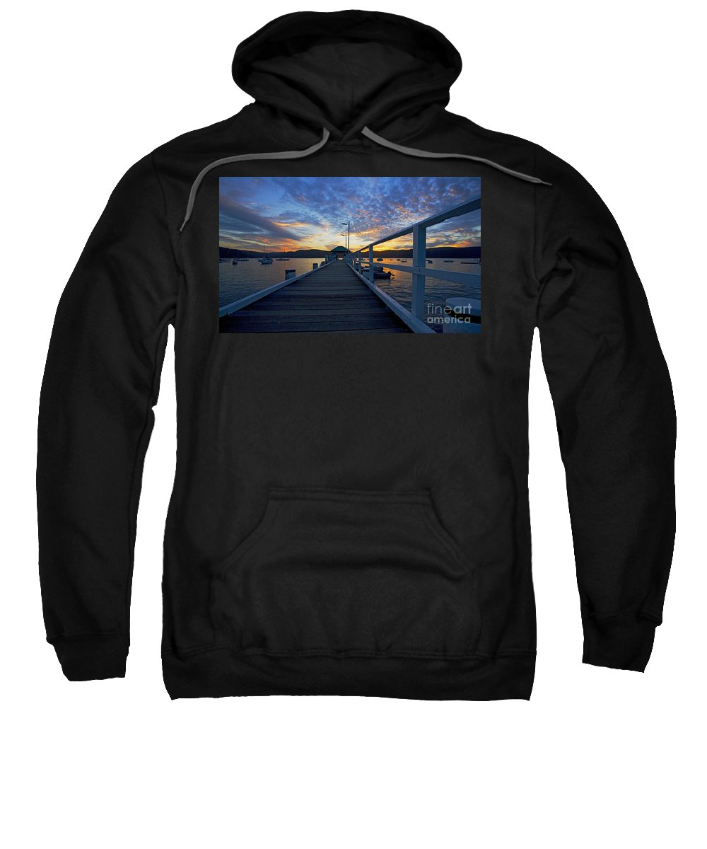 Palm Beach Sydney Wharf Sunset Dusk Water Pittwater Sweatshirt featuring the photograph Palm Beach Wharf At Dusk by Sheila Smart Fine Art Photography