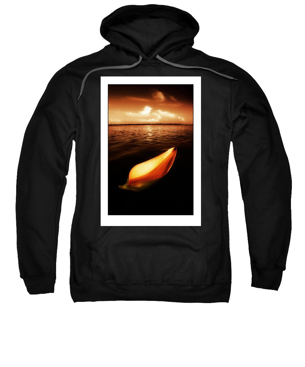 Palm Sweatshirt featuring the photograph Palm Leaf Sheath Boat by Mal Bray
