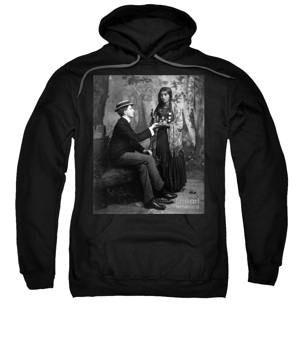 1910 Sweatshirt featuring the photograph Palm-reading, C1910 by Granger